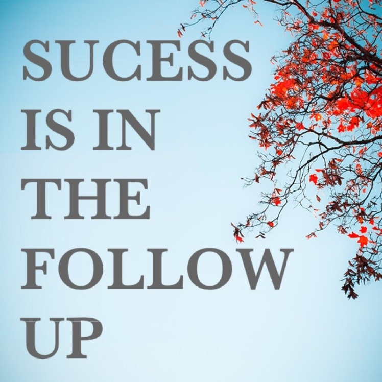 success is in he follow up
